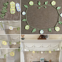 Crochet Flower Garland in Yellow and White