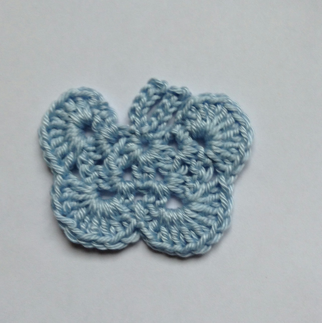 Crochet Butterfly Appliqué Embellishment in Pale Blue