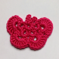 Crochet Butterfly Appliqué Embellishment in Cerise Pink