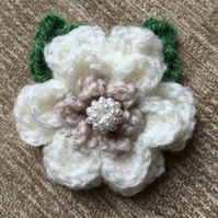 Crochet Flower Brooch Corsage in Coffee and Cream
