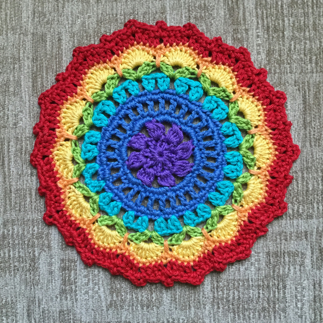Crochet Rainbow Doily Table Mat Coaster