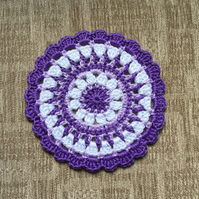 Crochet Mandala Table Mat in Purple,Lilac and White
