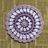 Crochet Mandala Table Mat Doily in Purple, Lilac and White