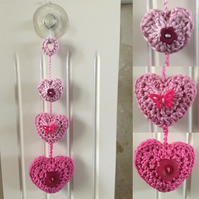 Crochet Hanging Hearts Nursery Decoration in Pink