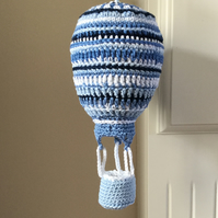 Crochet Hot Air Balloon Nursery Mobile  in Blue
