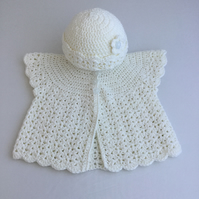 Crochet Sleeveless Baby Cardigan and Hat in Cream