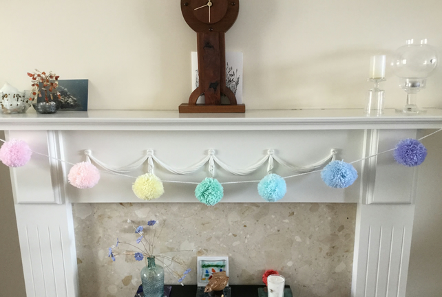Pompom Garland in Pastel Rainbow Colours