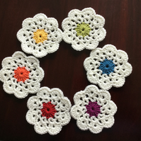 Crochet Flower Coasters in Cream with Rainbow Centres