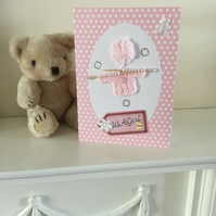 Handmade Card for a New Baby Girl