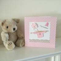 Handmade Card for a New Baby Girl Baptism Christening Baby Shower.