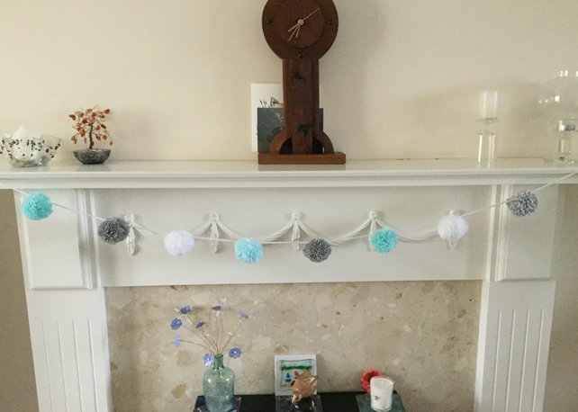 Pompom Garland in Mint, Grey and White
