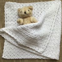 Crochet Baby Blanket in White Soft Cotton