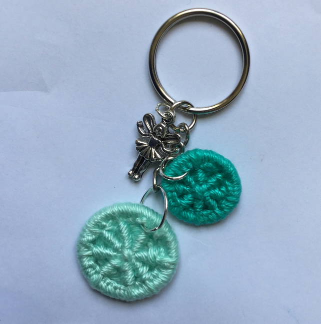 Keyring Bag Charm with Dorset Buttons and Fairy