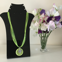 Necklace Pendant in Lime Green with Dorset Button and Tree Charm