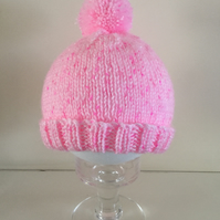 Knitted Baby Pompom Bobble Hat in Pink