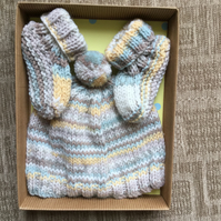 Knitted Baby Pompom Bobble Hat and Booties Gift Set in Neutral Colours