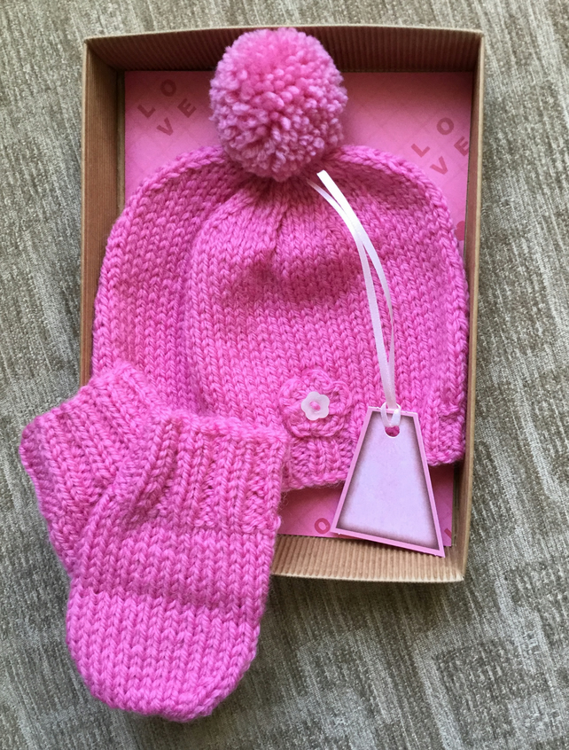Hand Knitted Baby Pompom Hat and Mittens Gift Set in Pink