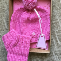 Hand Knitted Baby Pompom Bobble Hat and Mittens Gift Set in Pink