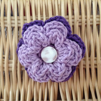 Crochet Flower Brooch in Purple