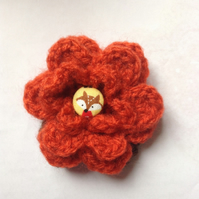 Crochet Flower Brooch Corsage in Burnt Orange