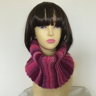 Crochet Cowl Snood Neck warmer in Pinks Lilac Cerise