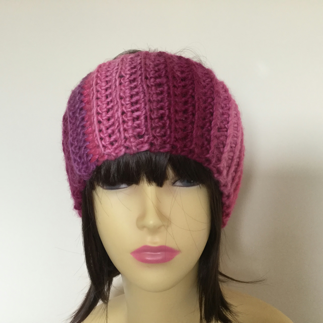 Crochet Headband Ear Warmer in Cerise Purple and Burgundy