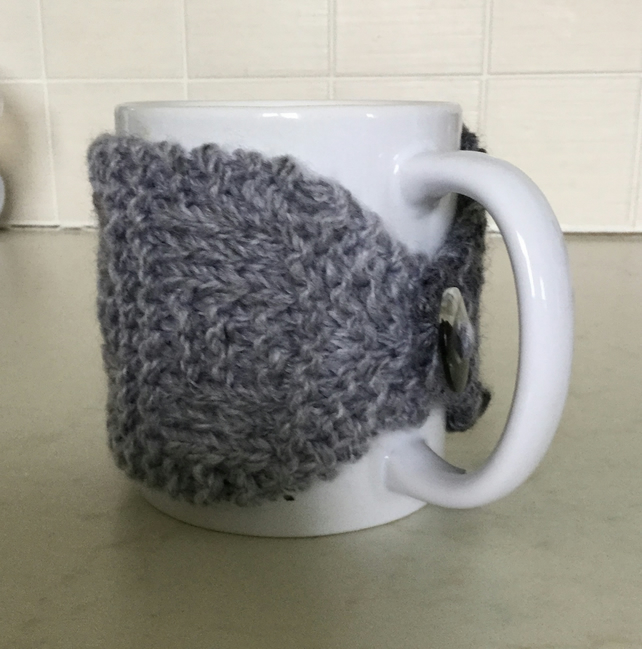 Hand Knitted Mug Hugs Set of 2 in Shades of Grey