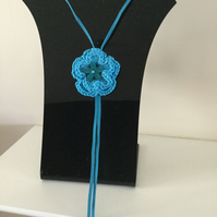 Crochet Turquoise Flower Pendant Necklace