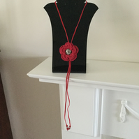 Crochet Red Flower Necklace Pendant