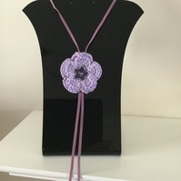 Crochet Purple Lilac Flower Necklace Pendant