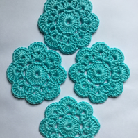 Crochet Coasters Set of 4 in Aquamarine Turquoise