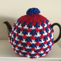 Knitted Tea Cosy in Red White & Blue