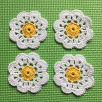 Crochet Daisy Flower Coaster Set of 4