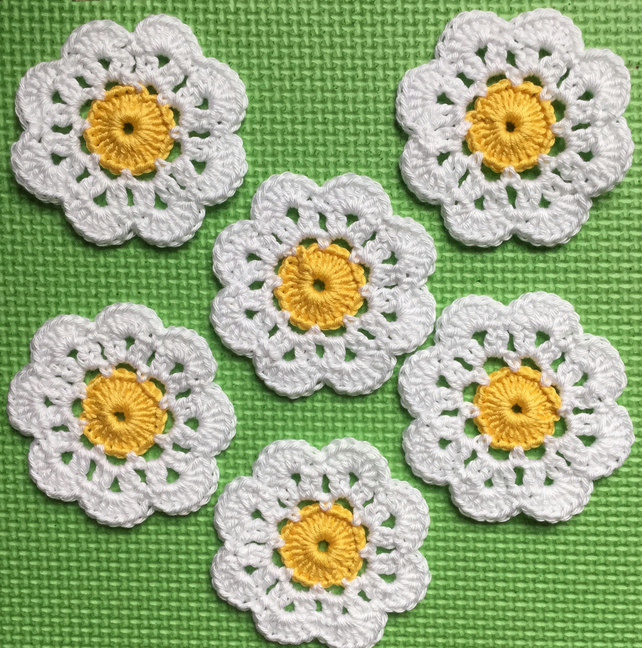 Crochet Daisy Flower Coasters Set of 6