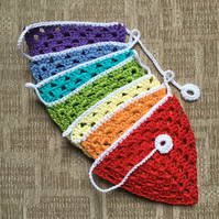 Crochet Bunting in the Colours of the Rainbow.