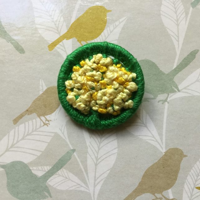 Dorset Button Brooch in Green and Yellow