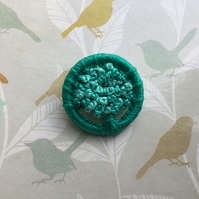 Dorset Button Brooch in Shades of Turquoise