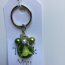 Dorset Button Angel Keyring in Green
