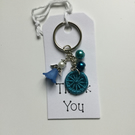 Angel Dorset Button Keyring in Blue