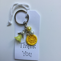 Dorset Button Angel Keyring in Yellow