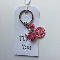 Angel Charm Dorset Button Keyring in Pink