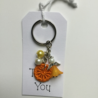 Dorset Button Angel Charm Keyring in Orange