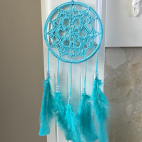 Crochet Dreamcatcher Wall Hanging in Turquoise