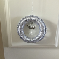 Beaded Angel Tree Decoration in Silver and White