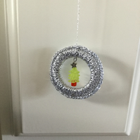 Crochet Christmas Decoration with Beaded Tree.