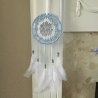 Crochet Dreamcatcher in Blue,Grey and White