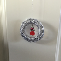 Crochet Christmas Decoration with a Beaded Angel.