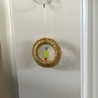 Crochet Christmas Decoration in Gold with a Beaded Tree