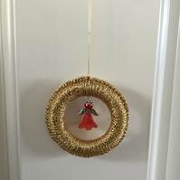 Gold Christmas Tree Decoration with Beaded Angel