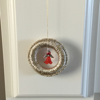 Crochet Christmas Tree Decoration with a Beaded Angel